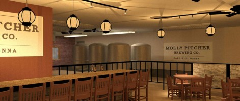 A view of the artist's rendering of the tasting room at Molly Pitcher Brewing Co.
